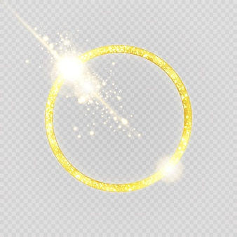 Luxurious gold ring. light circles and spark light effect.