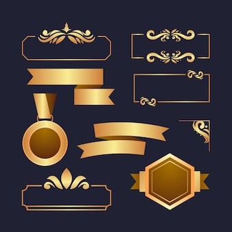 Luxurious golden elements collection