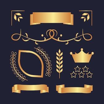 豪華な黄金の要素のコレクション