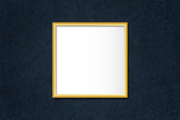 Luxurious golden frame mockup on a wall vector