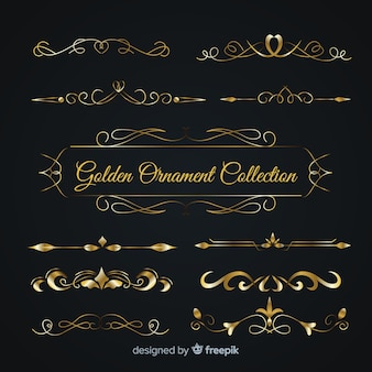 Luxurious golden ornament collection
