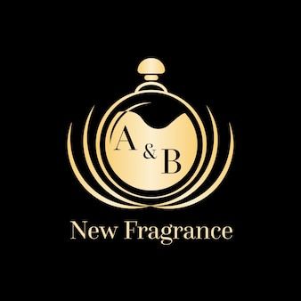 Luxurious golden perfume logo