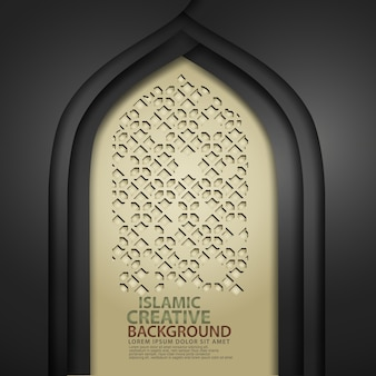 Luxurious islamic art for greeting card with realistic door mosque texture with ornamental of mosaic. vector illustrator
