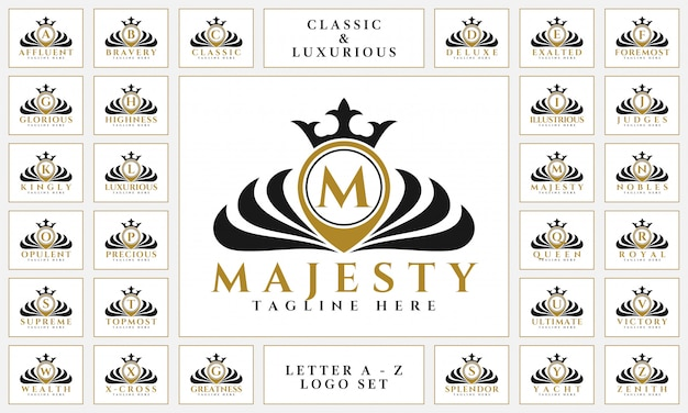 Luxurious letter logo set with royal classic ornament style