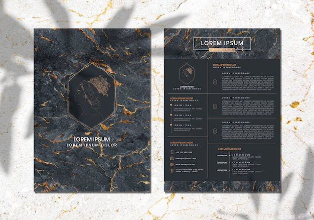 Luxurious marble textured cover template vector