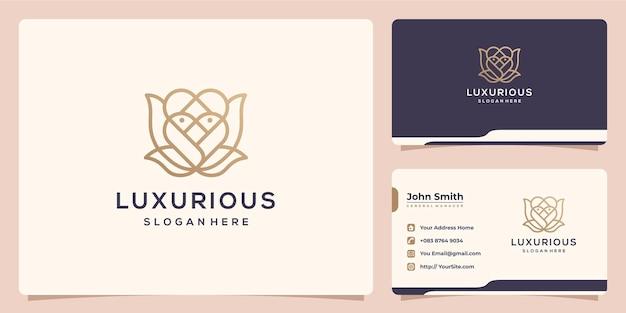 스파 및 살롱 로고 디자인 및 명함을 위한 고급스러운 모노라인 꽃
