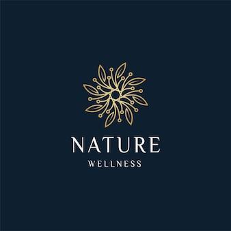 고급스러운 자연 꽃 잎 장식 로고 아이콘 디자인 템플릿 금색 우아한 아름다움 스파 벡터