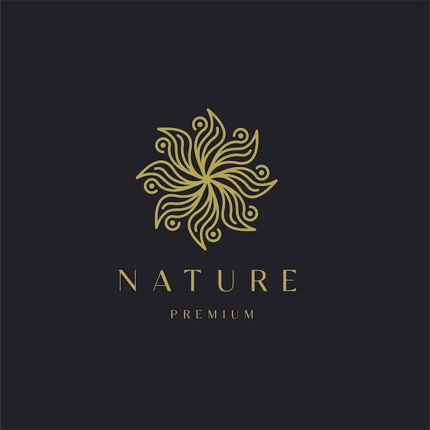 豪華な自然の花の葉飾りのロゴのテンプレート。ゴールドエレガントビューティースパヨガ化粧品モダン