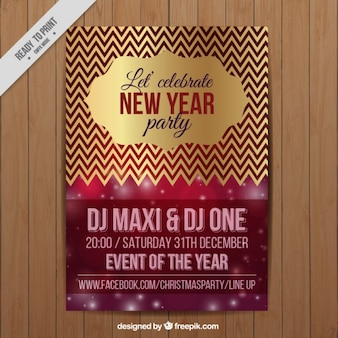 Luxurious new year's party brochure with zig zag golden lines