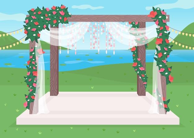 고급스러운 야외 결혼식 장소 평면 컬러 일러스트