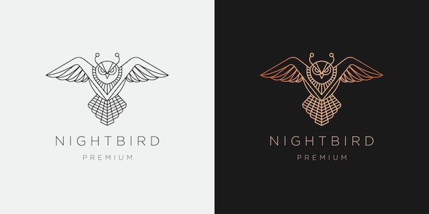 Luxurious owl bird line art style logo icon design template