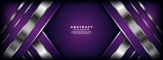 Luxurious purple and silver overlap layer banner background