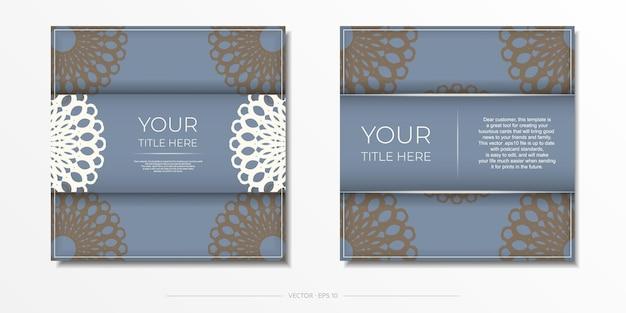Роскошный готовый к печати синий дизайн открытки с арабским узором. шаблон приглашения карты с винтажным орнаментом.
