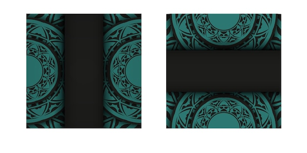 青のパターンが付いた黒の豪華なすぐに印刷できるポストカードデザイン。あなたのテキストと抽象的な装飾のための場所と招待状のベクトルテンプレート。