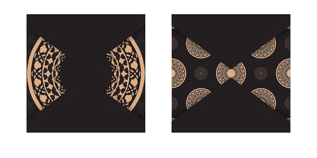 그리스 패턴이 있는 검정색의 고급스러운 바로 인쇄 가능한 엽서 디자인. 텍스트 및 빈티지 장신구에 대 한 장소를 가진 벡터 초대 카드 템플릿.