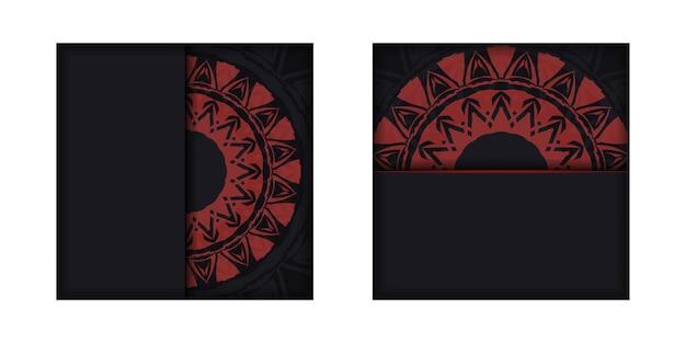 빨간색 그리스 패턴이 있는 검은색의 고급스러운 ready-to-print 엽서 디자인.