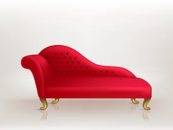 Luxurious red sofa with golden carved legs isolated on background.