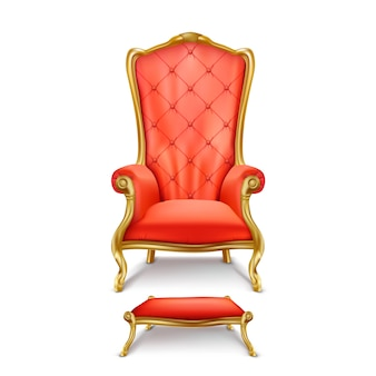 Luxurious red throne in realistic style