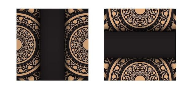 그리스 패턴이 있는 검정 색상의 인쇄 디자인 엽서를 위한 고급스러운 템플릿입니다. 텍스트와 빈티지 장식을 위한 장소가 있는 초대 카드의 벡터 준비.