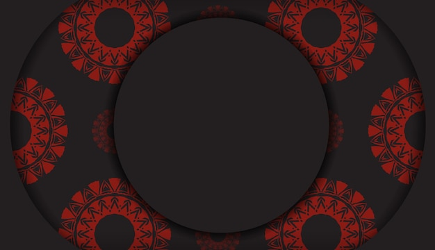 빨간색 그리스 장식이 있는 검은색 인쇄 디자인 엽서를 위한 고급스러운 템플릿입니다. 벡터 텍스트 및 추상 패턴에 대 한 장소를 가진 초대 카드를 준비 합니다.