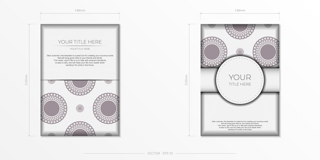 暗いギリシャのパターンと白い色のプリントデザインのポストカードのための豪華なテンプレート。
