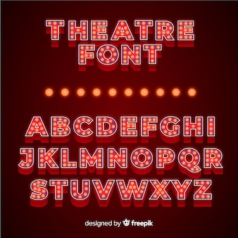 Luxurious theater light bulb alphabet