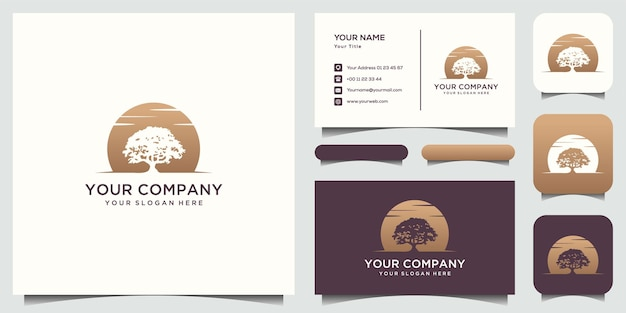 Luxurious tree logo template bussiness card