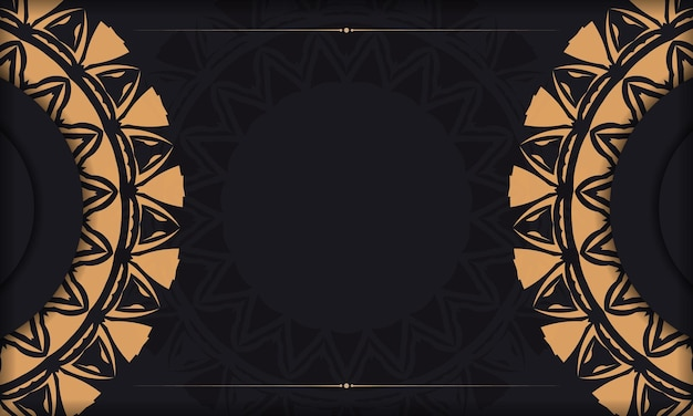 오렌지 장신구와 함께 검은 색 엽서의 고급스러운 벡터 디자인. 텍스트와 빈티지 패턴을 위한 공간이 있는 초대 카드 디자인.