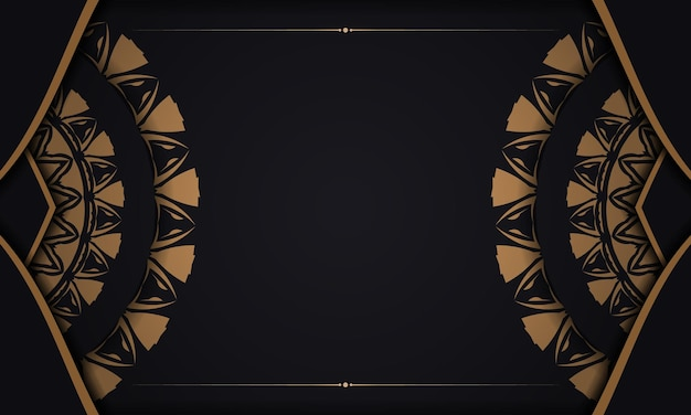 주황색 패턴이 있는 검은색 엽서의 고급스러운 벡터 디자인. 텍스트와 빈티지 장식품을 위한 공간이 있는 초대 카드 디자인.