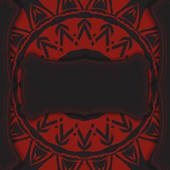 빨간색 그리스 장식이 있는 검은색 엽서의 고급스러운 벡터 디자인. 텍스트 및 추상 패턴을 위한 공간이 있는 초대 카드 디자인.