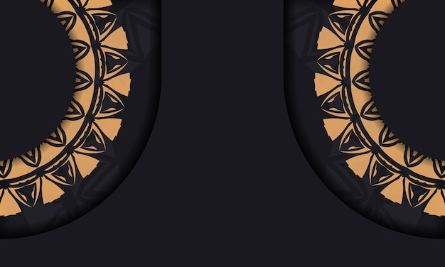오렌지 장식이 있는 블랙 색상의 인쇄 디자인 엽서를 위한 고급스러운 벡터 템플릿입니다. 텍스트와 빈티지 패턴을 위한 장소가 있는 초대 카드를 준비합니다.
