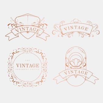 Luxurious vintage art nouveau badge vector set