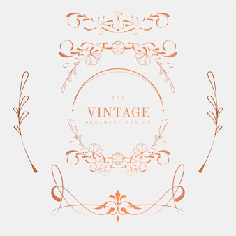 Luxurious vintage art nouveau badge vector set