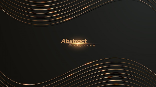 Luxurious wavy background with shimmering golden lines.