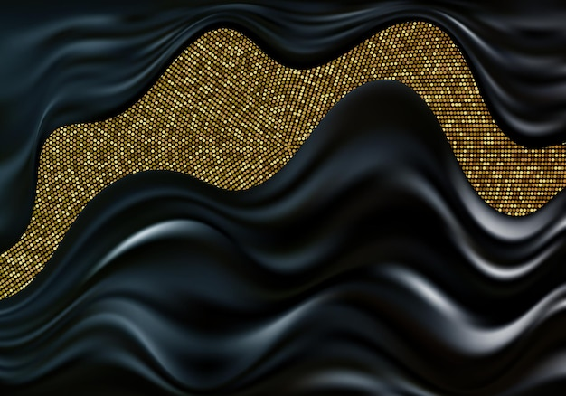 Luxurious wavy vector abstraction with golden halftone effect.