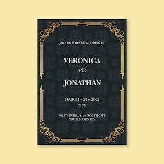 Luxurious wedding invitation template