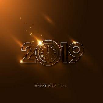 Luxury 2019 New Year WIth Vintage Clock