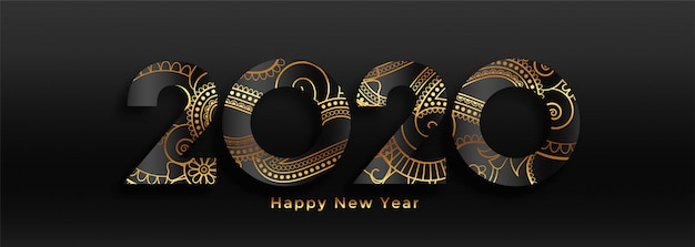 Luxury 2020 happy new year black and gold banner