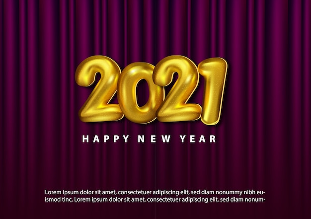 Luxury 2021 happy new year with baloon 3d gold number