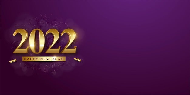 Luxury 2022 happy new year banner in golden 3d style with text space