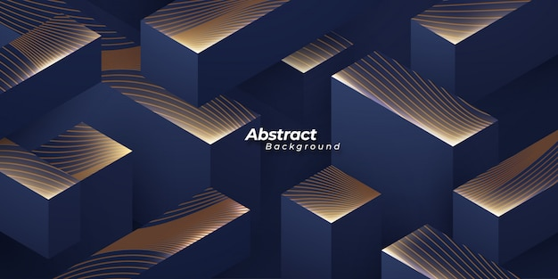 Luxury 3d background with golden texture. Premium Vector