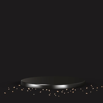 金の紙吹雪と黒の豪華な3d製品の背景ベクトル 無料ベクター