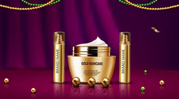 ボトルゴールドとゴールドスキンケア化粧品の豪華な3dリアルなモックアップ