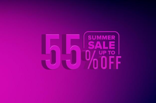 Роскошная 3d летняя распродажа баннер со скидкой пятьдесят пять 55 процентов