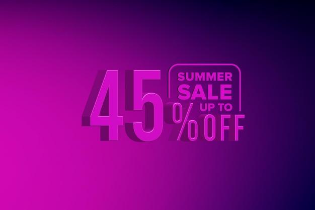 Роскошная летняя распродажа 3d баннер со скидкой сорок пять 45 процентов