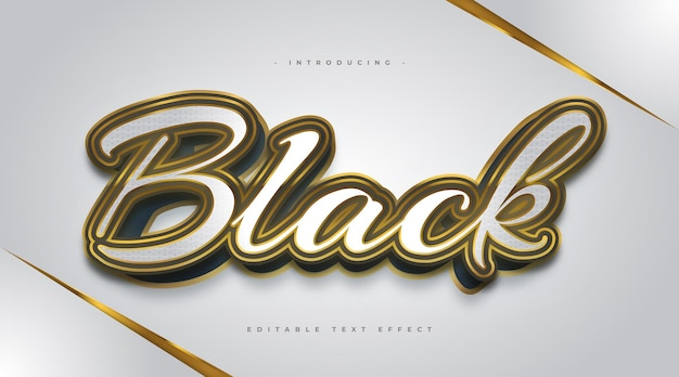 Luxury 3d text effect in white, gold, and black. editable text effect