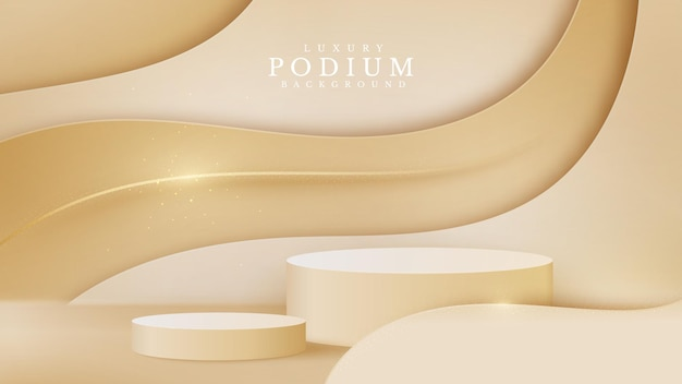 Luxury abstract background scene. golden curve lines along with cylinder shape podium for show product. cream shade color stage about sweet feeling. realistic paper cut style. vector illustration.