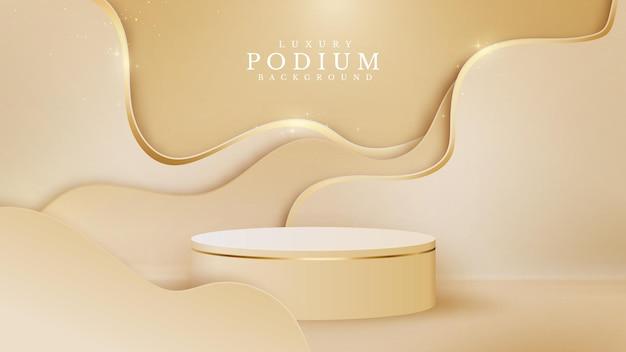 豪華な抽象的な背景シーンの黄金の曲線が、ショー製品のクリーム色の色合いの背景と甘い感じのリアルな紙のカットスタイルについてのステージのための円筒形の表彰台と一緒に輝きます