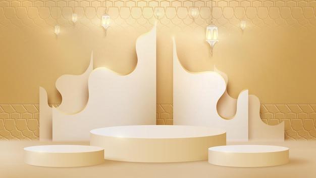 럭셔리 추상적인 배경 장면입니다. 제품 쇼를 위한 실린더 모양 연단과 함께 램프 및 황금 곡선 라인. 이슬람 새해 개념입니다. 현실적인 종이 컷 스타일. 디자인에 대 한 벡터 일러스트 레이 션.