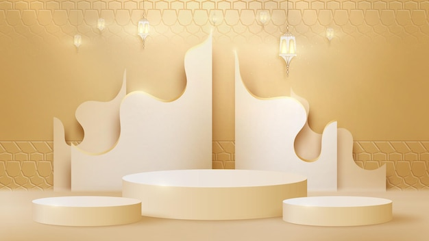 Luxury abstract background scene. lamp and golden curve lines along with cylinder shape podium for show product. islamic new year concept. realistic paper cut style. vector illustration for design.